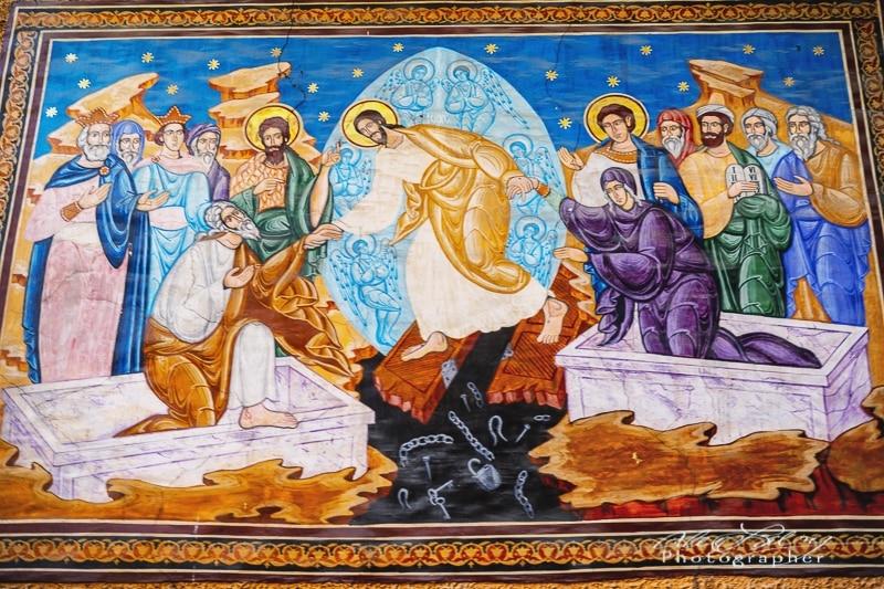 Mural inside old Greek Orthodox Church, Brasov